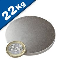 Round Disc Magnet Ø  60 x  5mm Neodymium N42 (Rare Earth), Nickel - pull 22 kg