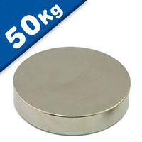 Round Disc Magnet Ø  60 x 10mm Neodymium N40 (Rare Earth), Nickel - pull 50 kg