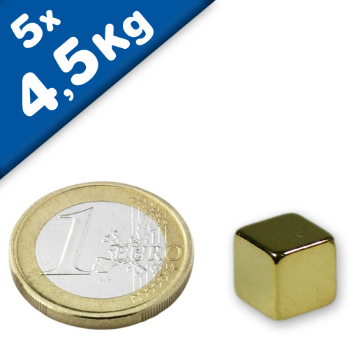 5 x Magnetic Cube  8 x  8 x  8mm Neodymium N45 (Rare Earth) Gold - force 4,5 kg