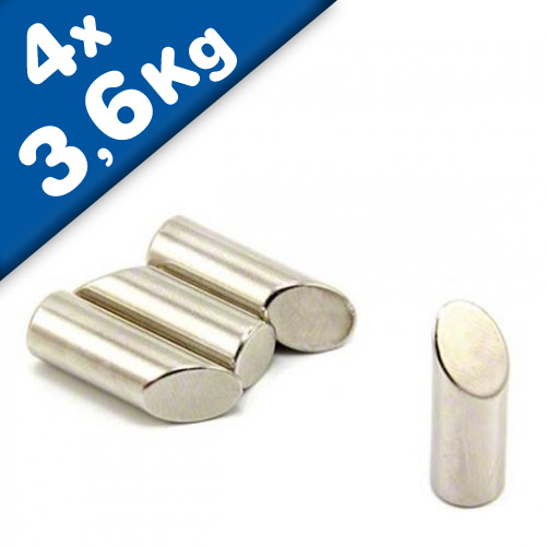 4 x Cylindrical Angled Mitre Magnets, North Ø 10 x 30 mm, Neodymium - pull 3,6kg