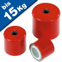 Deep Pot Holding Magnet AlNiCo red Ø 12,5mm - 35mm, with inner thread - 180°C