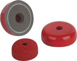 Flat pot holding magnet Ø 19,1mm - Ø 38,1mm AlNiCo red coated 180°C