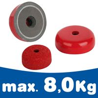 AlNiCo Shallow Pot Holding Magnet Ø 19,1 - 38,1mm red painted 180°C - Force 8kg