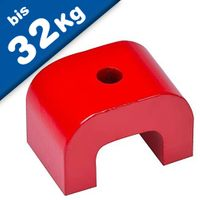 Alnico 5 Horseshoe/Bridge Magnet 30-70mm, red coated - 180°C - force: up to 32kg