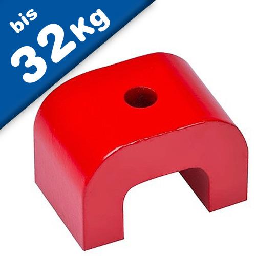 Alnico 5 Horseshoe/Bridge Magnet 30-70mm, red coated - 180°C - force: up to 32kg