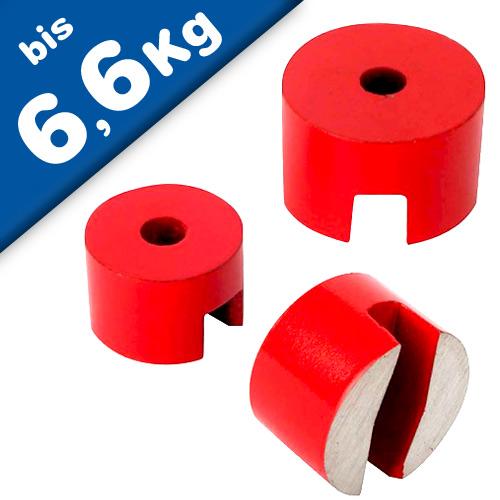 AlNiCo 5 Button Pot Magnet Ø 13mm - Ø 31,8mm, red coated, 180°C - force: 6,6 kg