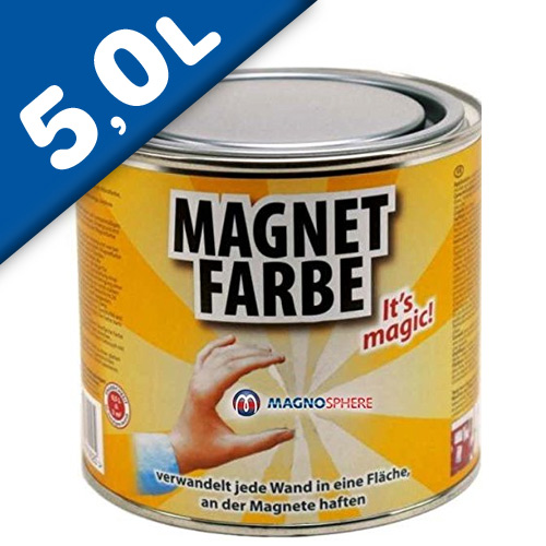 Magnetic Paint / Magnetic receptive wall paint - 5000 ml Tin attracts magnets!