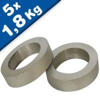 5 x Ring Magnet Ø 12,8/8,5 x 5mm Samarium Cobalt (SmCo), uncoated - pull 1,8 kg