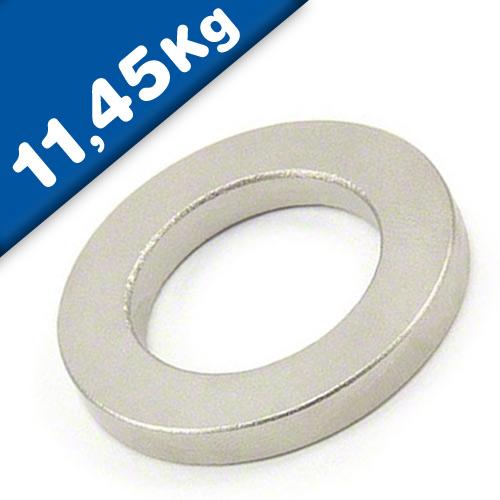 Ringmagnet / Magnetring SmCo Nickel - Ø 40/25 mm, Höhe 5 mm - Haftkraft 11,45 kg