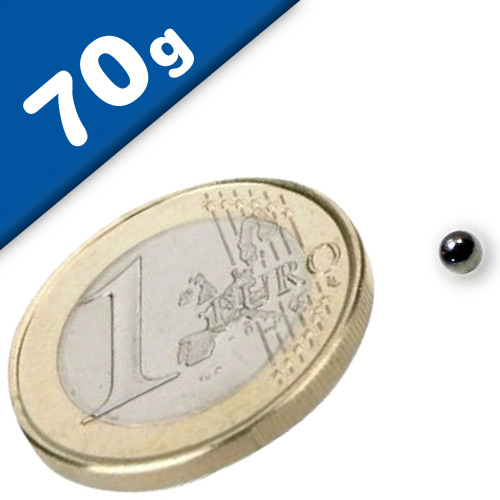 Magnetkugel / Kugelmagnet Ø  2 mm Neodym N40, Nickel - Haftkraft 70g