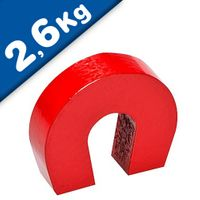 AlNiCo 5 Horseshoe Magnet red coated 28,6 mm x 25,4 mm x 8 mm - holds 2,6 kg