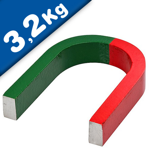 AlNiCo Horseshoe Magnet red/green coated 80 mm x 60 mm x 15 mm holds 3,2 kg