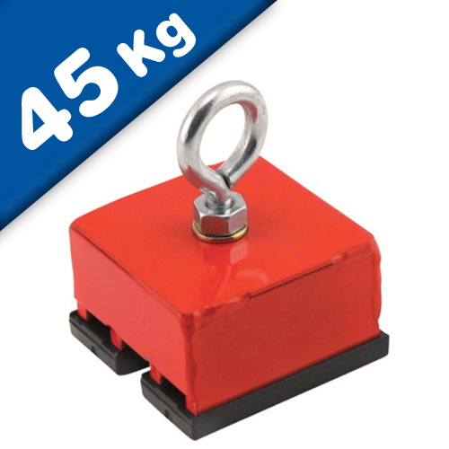 Heavy-Duty Red Magnetic Base, magnetic pull 45 kg, 1 piece