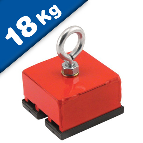 Heavy-Duty Red Magnetic Base, magnetic pull 18 kg, 1 piece