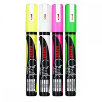 Chalk markers, pink green yellow fluorescent wiped 3 piece