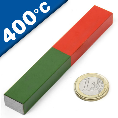 Educational Bar Block Magnet rectangular AlNiCo 100 x 15 x 10mm red-green, 400°C