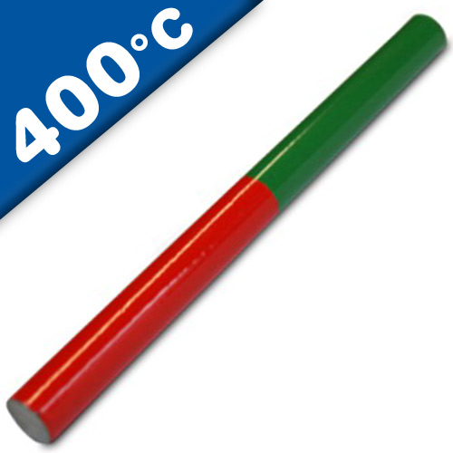 AlNiCo 5 Educational Magnetic Rod Round Magnet 200 x 10mm, red-green - 400°C