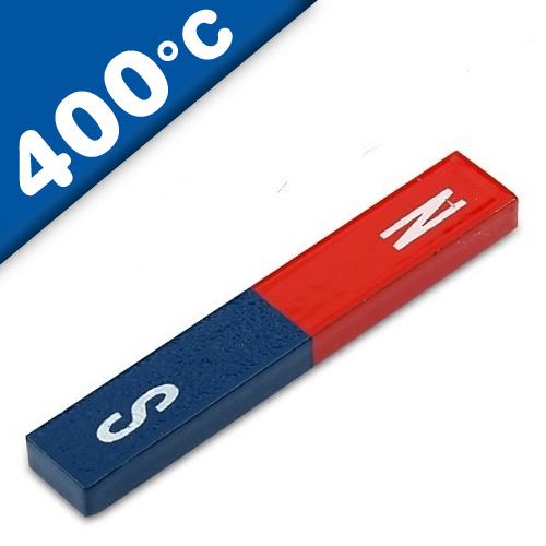 Quader Stabmagnet Schulmagnet AlNiCo 60 x 10 x 5mm - rot/blau - Max.Temp: 400°C