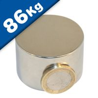 Round Disc Magnet Ø  45 x 30mm Neodymium N45 (Rare Earth), Nickel - pull 86 kg