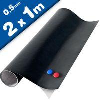 Autocollant Adhésif Tableau Noir Vinyle Mural Amovible 200cm x 100cm + 2x craie