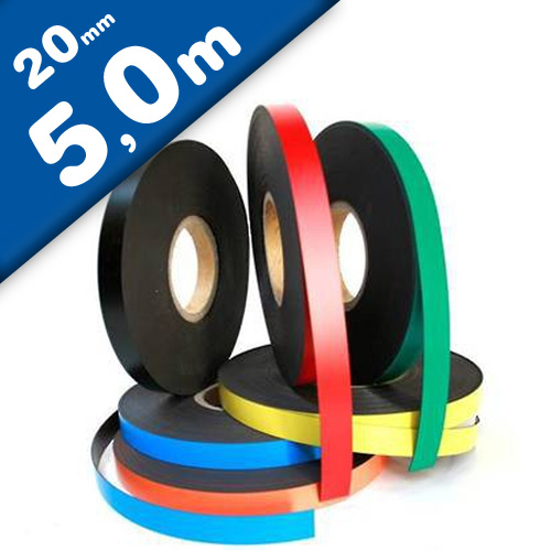 Coloured Magnetic Tape/Strip, Marking Tape, Label Magnets 0,85 mm x  20 mm x 5 m