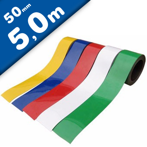 Coloured Magnetic Tape/Strip, Marking Tape, Label Magnets 0,85 mm x  50 mm x 5 m