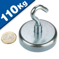 Magnetic Hooks, Pot Magnet with Hook Ø 60 mm, Neodymium Rare Earth - pull 110 kg