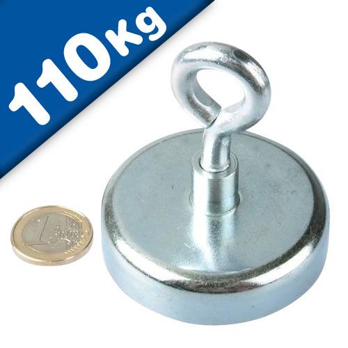 Ösenmagnet / Magnet mit Öse Ø 60mm – Neodym (NdFeB) Zink - Haftkraft 110 kg