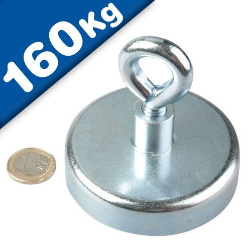 Eyebolt Magnets Pot Magnet with Eyelet Ø 75 mm Neodymium (Rare Earth) - 160 kg