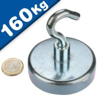 Magnetic Hooks, Pot Magnet with Hook Ø 75 mm, Neodymium Rare Earth - pull 160 kg