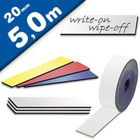 Coloured Magnetic tape Marking tape Label Magnets dry-Wipe 0,85 mm x 20 mm x 5 m