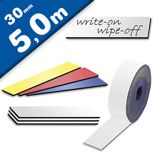 Coloured Magnetic tape Marking tape Label Magnets dry-Wipe 0,85 mm x 30 mm x 5 m