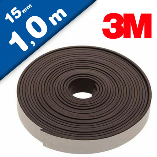 Flexible Magnetic Tape Strip with 3M adhesive 2mm x 15mm x 100cm, very strong