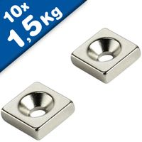 10 x Block Magnet countersunk  10 x 10 x 3mm Neodymium N35 - N-pole - 10 pieces