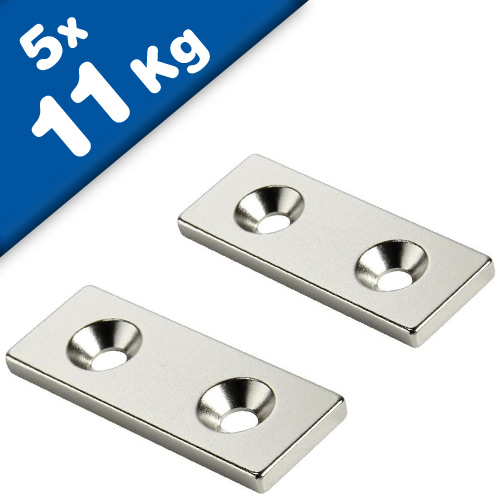 Block Magnet countersunk  60 x 10 x 3mm Neodymium N35 - N-pole - 5 pieces