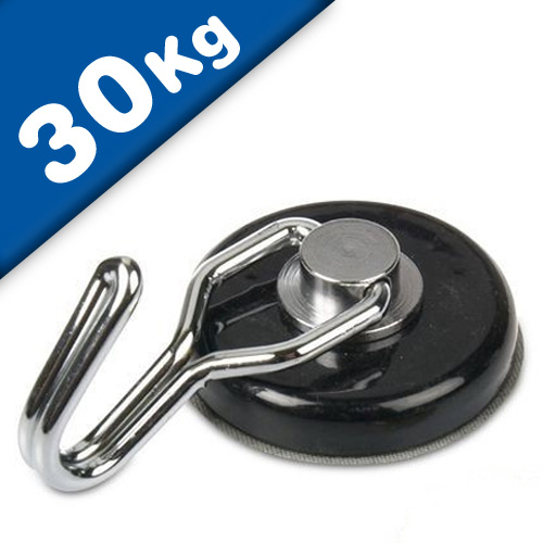Hook neodymium magnet, rotating Ø 38 mm black - 30 kg