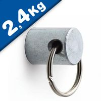 Magnet with Key Ring Neodymium (Rare Earth) Ø 10mm x 16mm - Pull force 2,4 kg