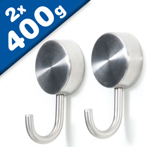 Brushed Stainless Steel Magnetic Hooks | Set of 2 Magnetic Ø  2,5 cm