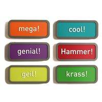 Magnets déco motivation set avec 6 magnets gommés 40mm x 18mm