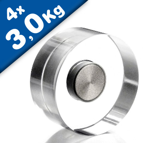4 x Design-Magnete Acryl Neodym, transparent Ø 30 mm - hält 3 kg - Dekomagnete