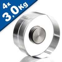 Design-Magnets Acrylic Neodymium Ø 30 mm 4 pieces transparent - holds 3 kg Design acrylic neodymium magnets