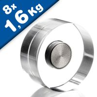 Design-Aimant Acrylic Neodym Ø 20 mm 8 pièces transparent - adhérence 1,6 kg