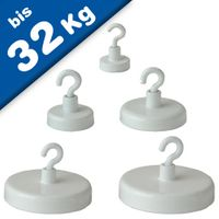 Decoration Magnet Ø 20mm - 57mm with hook and white housing holds 3 kg - 32 kg