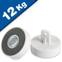 Decoration magnet Ø 43 mm with eyelet, white - Force 12 kg