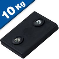 Basi Magnetiche in Neodimio 43x31x6 mm gommato con 2x filettatura interna