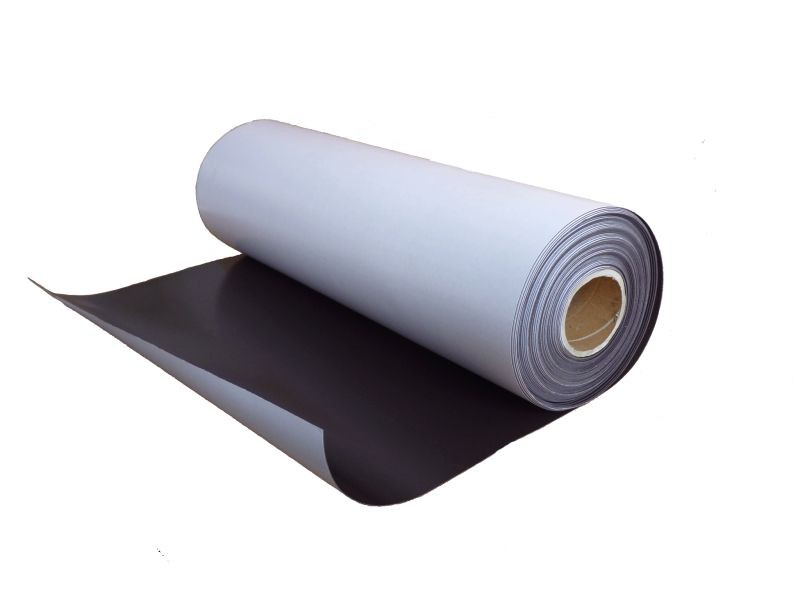 Plain magnetic sheet with self adhesive 0,9mm x 0,62m x 1m