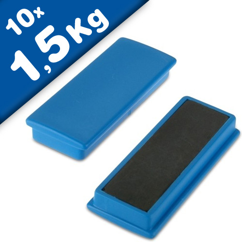 10 x Office magnet 55 x 22,5 x 8,5mm Ferrite, 10 assorted colors - 10 pieces
