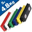Office magnet 55x22,5x8,5 mm Neodymium 6 assorted colors, 5 pieces holds 4.8 kg 001