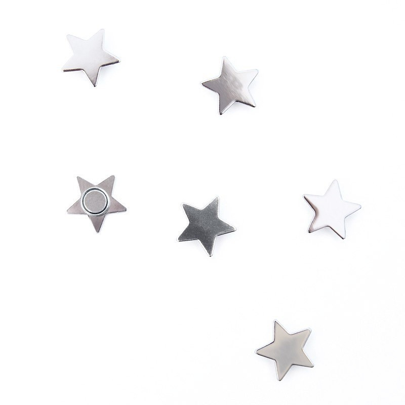 Memo magnets star - Set with 6 pcs.sorted magnets silver | 15mm x 5mm x 5mm