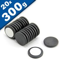 20 x Round Circle Disc Magnets Ø 22 x  2 mm Ferrite Y30 foam adhesive holds 300g